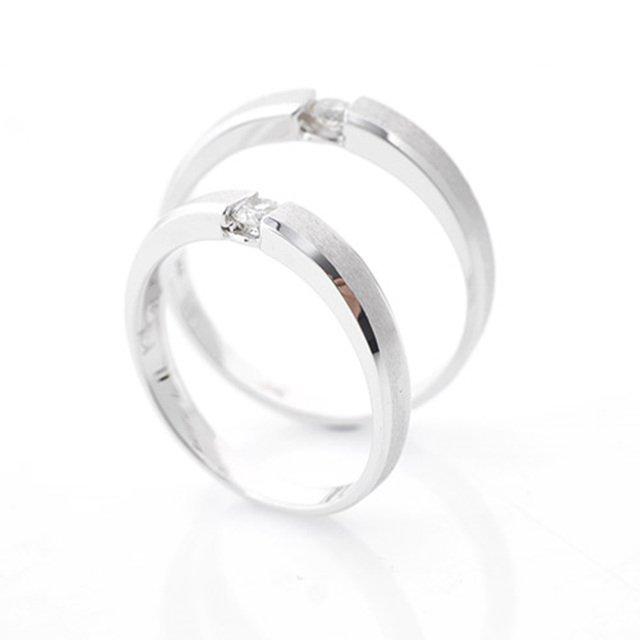 14K/18K 마르티노 심플 1부 다이아몬드 커플링반지
